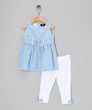 Blue Gingham Mia Tunic & White Leggings - Girls