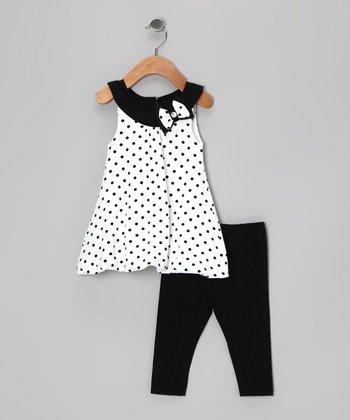 Black & White Polka Dot Libby Tunic & Leggings - Girls
