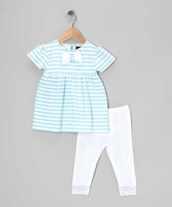 Blue & Lace Cindy Tunic & White Leggings - Girls
