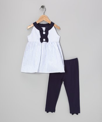White Stripe Tammy Tunic & Navy Leggings - Girls
