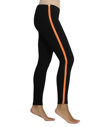 Black & Neon Orange Zip Leggings