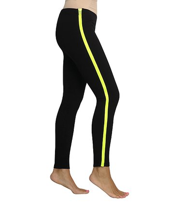 Black & Neon Yellow Zip Leggings