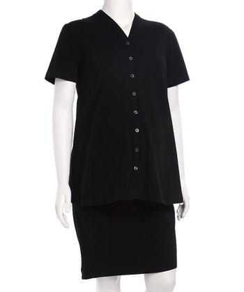 Black Maternity Button-Up Top & Skirt