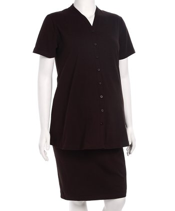 Brown Maternity Button-Up Top & Skirt