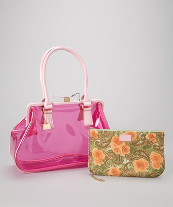 Pink Transparent Andrea Shoulder Bag & Cosmetic Bag