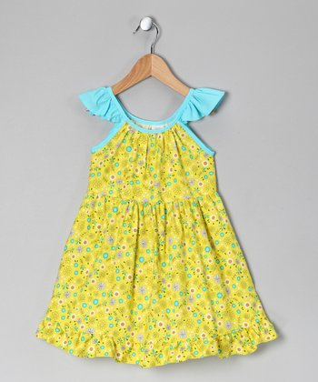 Yellow & Turquoise Floral Angel-Sleeve Dress - Toddler & Girls