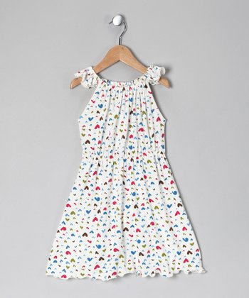 White Heart Angel-Sleeve Dress - Toddler