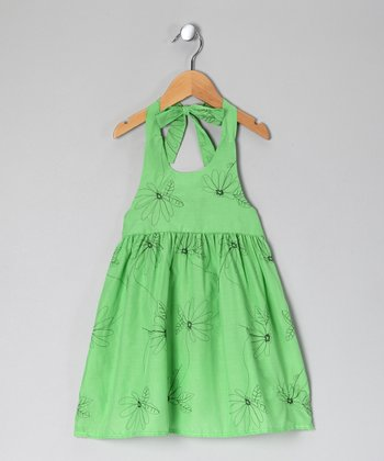 Green Floral Halter Dress - Toddler & Girls