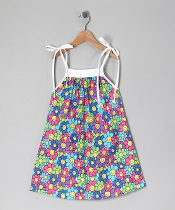 Blue & Green Smiley Flower Dress - Girls