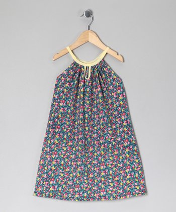Blue & Yellow Floral Keyhole Dress - Toddler & Girls