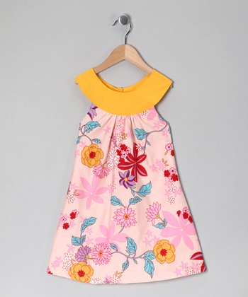 Pink & Yellow Floral Yoke Dress - Girls