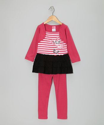 Hot Pink & Black Butterfly Layered Tunic & Leggings - Infant & Toddler
