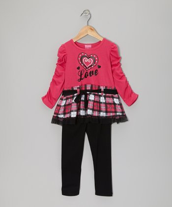 Hot Pink 'Love' Plaid Tunic & Black Leggings - Infant