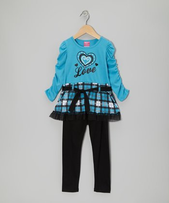 Blue 'Love' Plaid Tunic & Black Leggings - Infant