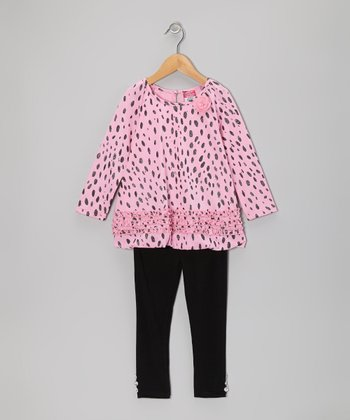 Pink Glitter Dot Tunic & Black Leggings - Toddler