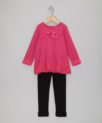 Hot Pink Ruffle Bubble Tunic & Black Leggings - Infant & Toddler