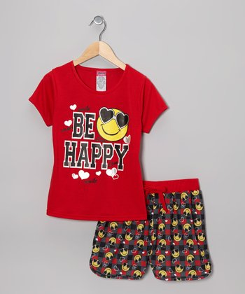 Red 'Be Happy' Pajama Set - Girls