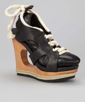 Black Camorra Leather Platform Wedge