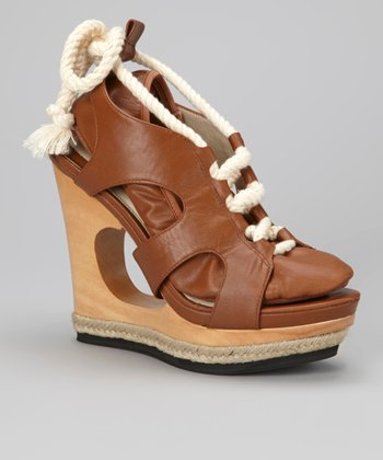 Cognac Camorra Leather Platform Wedge