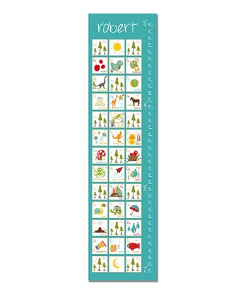 Blue & White ABC's Personalized Growth Chart