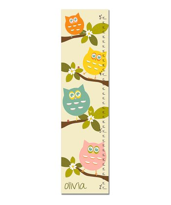 Pink & Blue Owls Personalized Growth Chart