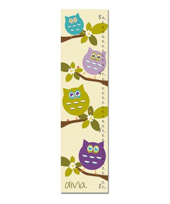 Purple & Green Owls Personalized Growth Chart