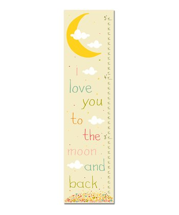 Pink Retro 'I Love You to the Moon' Growth Chart