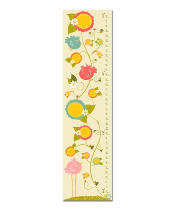 Pink Birds & Flowers Growth Chart
