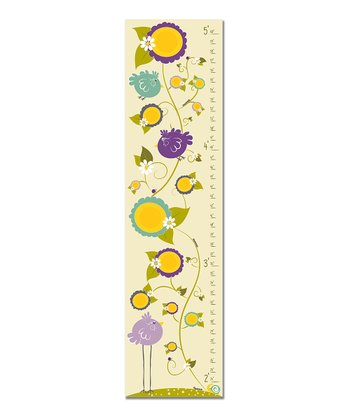 Purple Birds & Flowers Growth Chart
