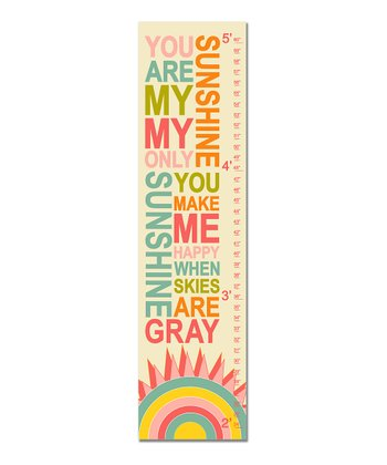 Pink Retro 'You Are My Sunshine' Growth Chart
