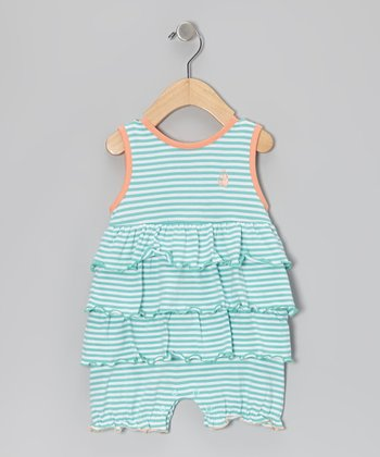 Teal & Orange Stripe Ruffle Bubble Romper - Infant