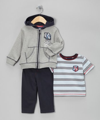 Gray Rowing Champ Zip-Up Jacket Set - Infant