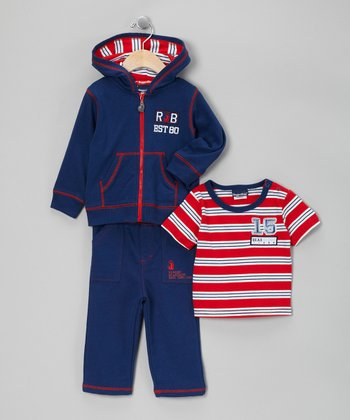 Blue & Red Zip-Up Jacket Set - Infant