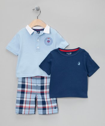 Rugged Bear Light Blue Laurel Crest Polo Set - Infant