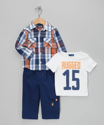 Blue & Orange Plaid Button-Up Set - Infant