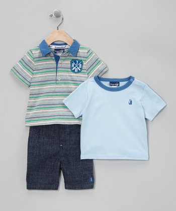 Gray Stripe 7 Polo Set - Infant