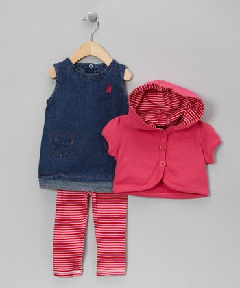 Pink Heart Cardigan Set - Infant