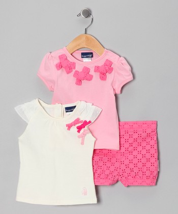 Pink Eyelet Shorts Set - Infant