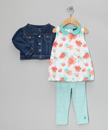 Sea Foam Green Water Flower Tunic Set - Infant