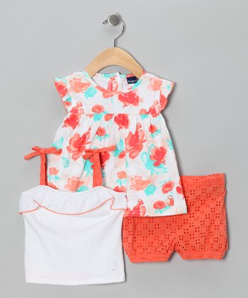 Orange Eyelet Shorts Set - Infant