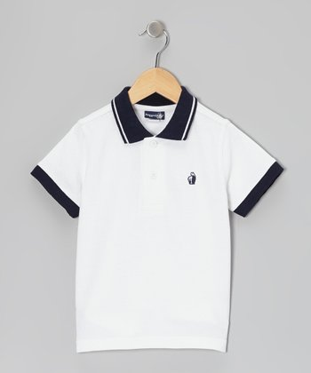 White & Navy Polo - Infant & Toddler