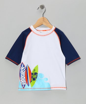 White & Blue Surf Fun Rashguard - Boys