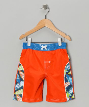 Orange & Blue Surf Fun Swim Trunks - Boys