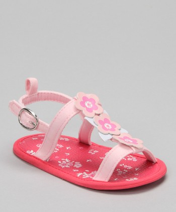 Hot Pink Flower T-Strap Sandal
