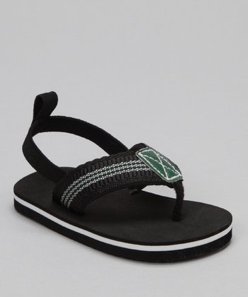 Black Stripe Thong Sandal