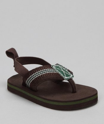 Brown Stripe Thong Sandal