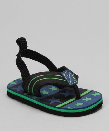 Black & Green Thong Sandal