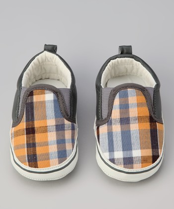 Orange & Gray Plaid Slip-On Sneaker