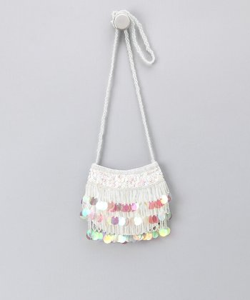 White Circle Sequin Purse