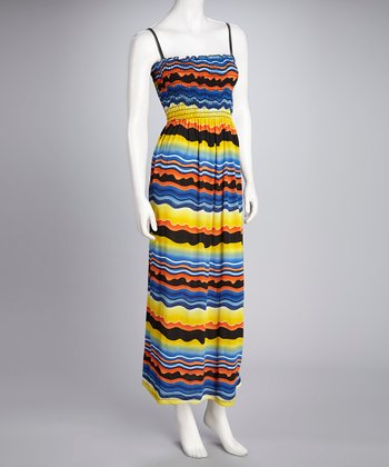 Blue & Yellow Stripe Shirred Maxi Dress